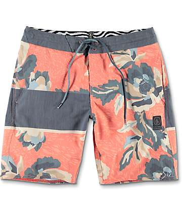 Volcom 3 Quarta Slinger 19&quote; Navy & Orange Board Shorts