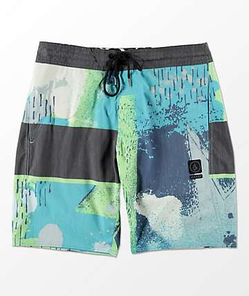"Volcom 3 Quarta Stoney 19"" Blue & Green Board Shorts"