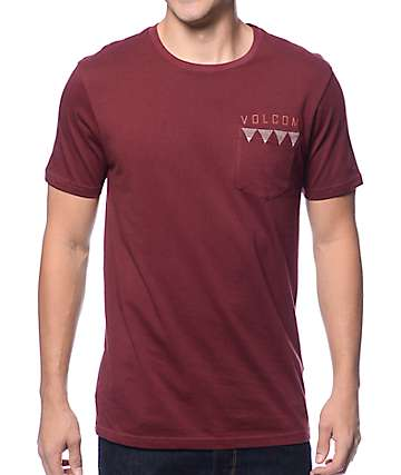 Volcom Banned Burgundy Pocket T-Shirt