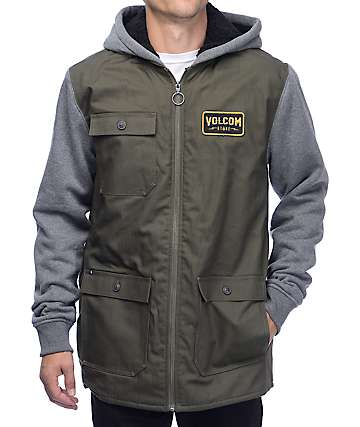 Volcom Battalion Green & Grey Sherpa Fleece Jacket