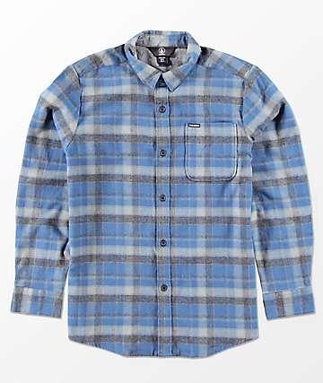 Volcom Boys Caden Blue Woven Flannel Shirt