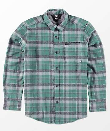 Volcom Boys Caden Evergreen Woven Flannel Shirt