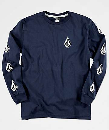 Volcom Boys Deadly Stones Navy Long Sleeve Shirt