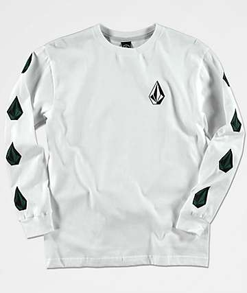 Volcom Boys Deadly Stones White Long Sleeve Shirt