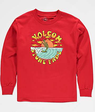 Volcom Boys Fade Red Long Sleeve T-Shirt