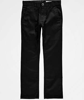 Volcom Boys Frickin Modern Stretch Black Chino Pants