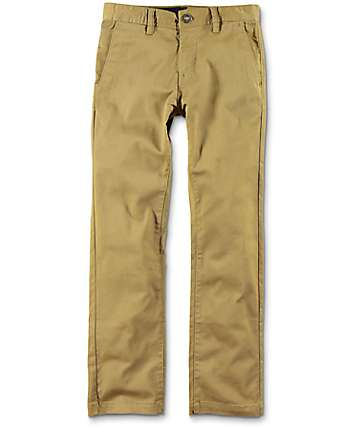 Volcom Boys Frickin Modern Stretch Dark Khaki Chino Pants