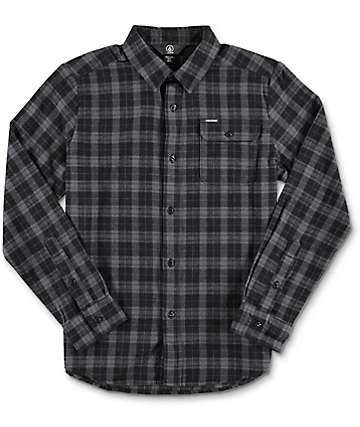 Volcom Boys Fulton Grey Flannel Shirt