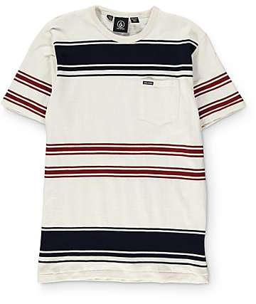 Volcom Boys Hayward Cream, Navy & Burgundy Stripe Knit Pocket T-Shirt