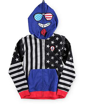 Volcom Boys Merry Kuh Full Zip Up Face Mask Hoodie
