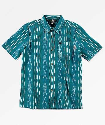 Volcom Boys Slogan Blue Woven Button Up Shirt