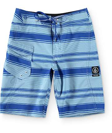 "Volcom Boys Stone Mod Blue Stripe 18"" Board Shorts"
