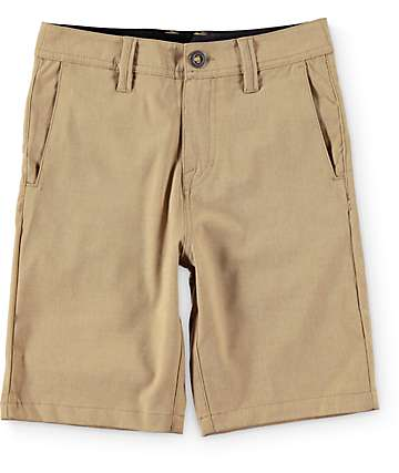 Volcom Boys Surf N' Turf Static Khaki Hybrid Shorts
