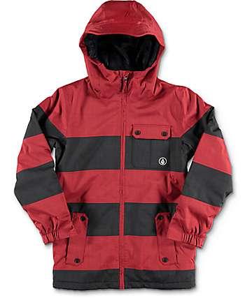 Volcom Cascade chaqueta de snowboard para niños con relleno en negro y rojo