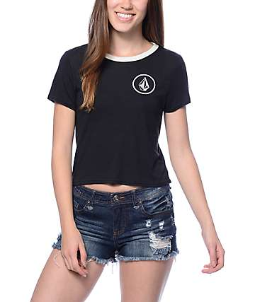 Volcom Circle Stone Black Ringer T-Shirt