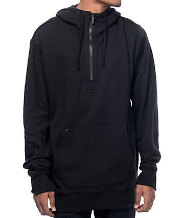 Volcom Clinton Quarter Zip Black Tech Fleece Hoodie