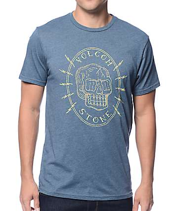 Volcom Cycle Skull Heather Blue T-Shirt
