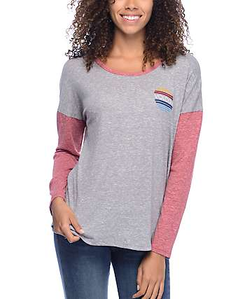 Volcom Daydream Grey & Red Long Sleeve T-Shirt