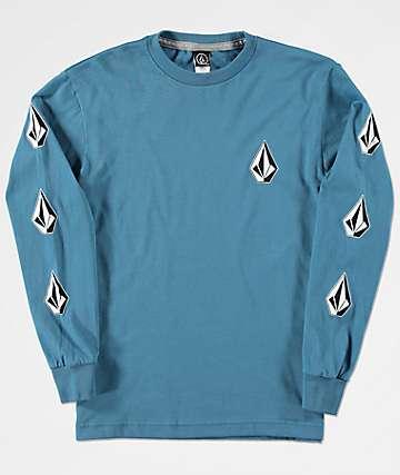 Volcom Deadly Stones camiseta azul de manga larga para niños