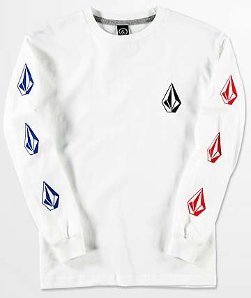 Volcom Deadly Stones camiseta blanca de manga larga para niños