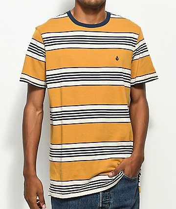 Volcom El Dorado Mustard & Navy Stripe T-Shirt