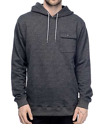Volcom Elba Charcoal Pocket Fleece Pullover Hoodie