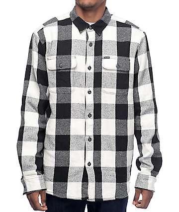 Volcom Ender camisa de franela forrada en blanco y negro