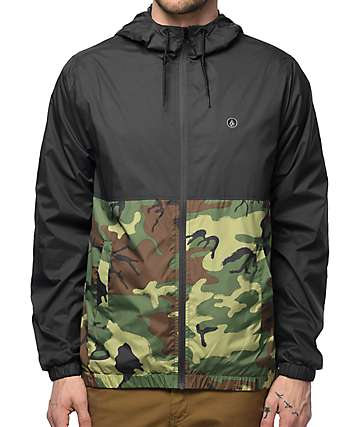 Volcom Ermont Charcoal & Woodland Camo Windbreaker Jacket