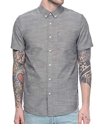 Volcom Everett Oxford Charcoal Short Sleeve Button Up Shirt