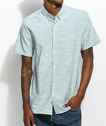 Volcom Everett Oxford Green Slubbed Short Sleeve Button Up Shirt