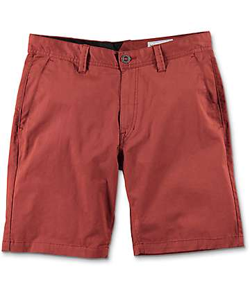 Volcom Frickin Lightweight Stretch Red Chino Shorts