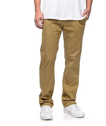 Volcom Frickin Modern pantalones chinos elásticos en caqui oscuro