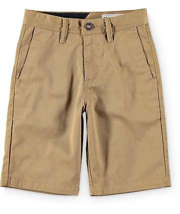 Volcom Frickin shorts chinos caqui oscuro (niño)