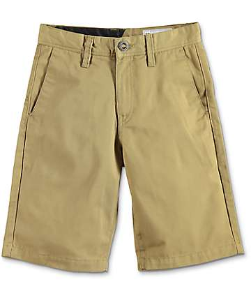 Volcom Frickin shorts chinos en caqui oscuro para niños