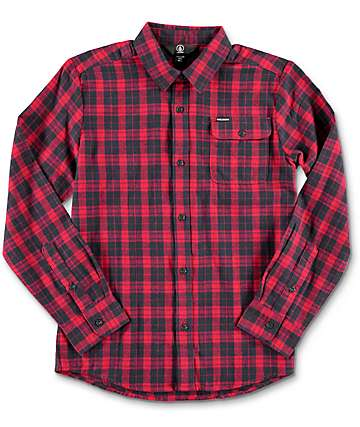 Volcom Fulton Red Youth Flannel Shirt