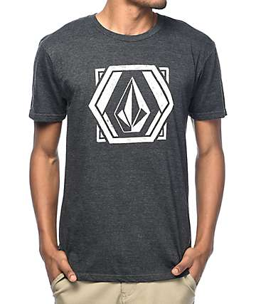 Volcom Geosketchtic camiseta en color plomo