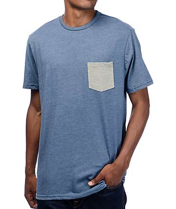 Volcom Heather Twist Blue & Olive Pocket T-Shirt