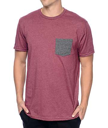 Volcom Heather Twist Burgundy Pocket T-Shirt