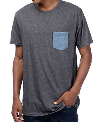 Volcom Heather Twist Charcoal & Blue Pocket T-Shirt