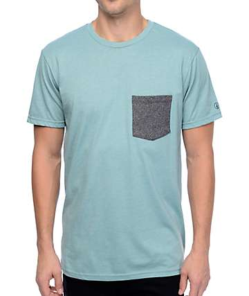 Volcom Heather Twist Light Blue & Charcoal Pocket T-Shirt