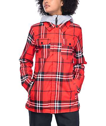 Volcom King 8K Fire Red Plaid Snow Jacket