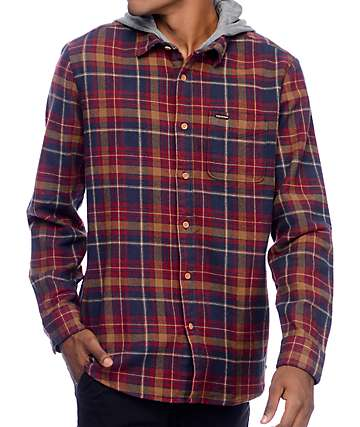 Volcom La Palma Navy & Red Hooded Flannel Shirt