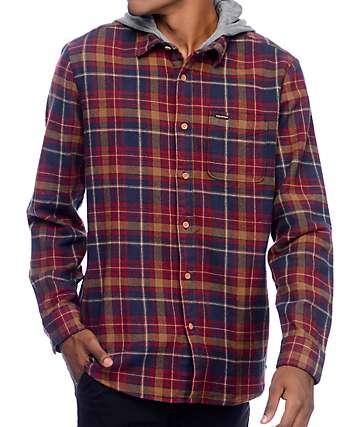 Volcom La Palma camiseta de franela con capucha en azul marino y rojo