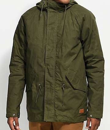 Volcom Lane Winter Olive Green Parka Jacket
