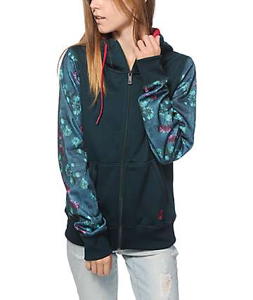 Volcom Lovage Green Floral Tech Fleece Jacket