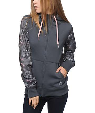 Volcom Lovage Grey Floral Tech Fleece Jacket