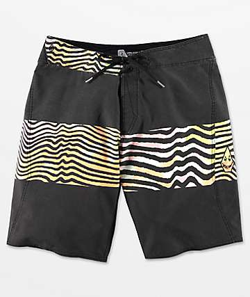 Volcom Macaw Mod Faded Black & Multicolored Board Shorts