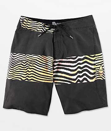 Volcom Macaw Mod Faded Black & Multicolored Board Shorts