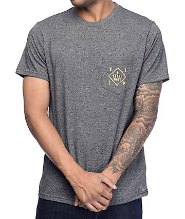 Volcom Made Charcoal & Yellow Pocket T-Shirt