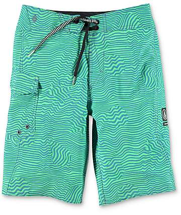 Volcom Magnetic Stone Boys Green Board Shorts